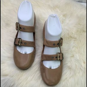 Gentle Souls Tan Double Bet Mary Jane Shoes